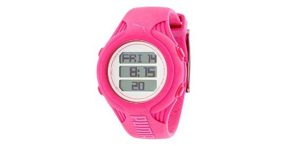 Dámské kulaté růžové digitální hodinky Puma