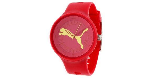 Pánské červené kulaté analogové hodinky Puma