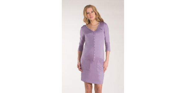 Dámské fialkové šaty s knoflíčky Mom2mom