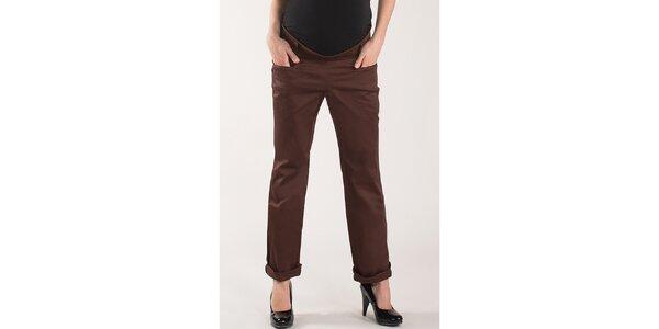 Dámské čokoládově hnědé kalhoty Mom2mom