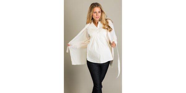 Dámský krémově bílý kardigan s páskem Mom2mom