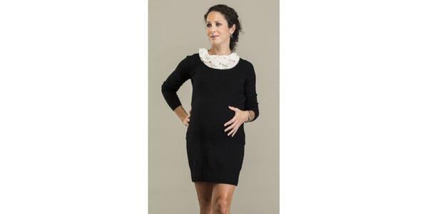 Dámské černé šaty s odepínatelným límečkem Mom2mom