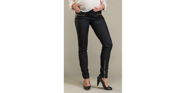 Dámské černé lesklé kalhoty se zipy Mom2mom