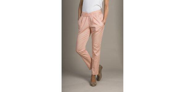 Dámské růžovo-meruňkové chino kalhoty Mom2mom