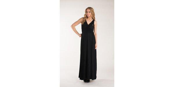 Dámské dlouhé černé šaty Mom2mom