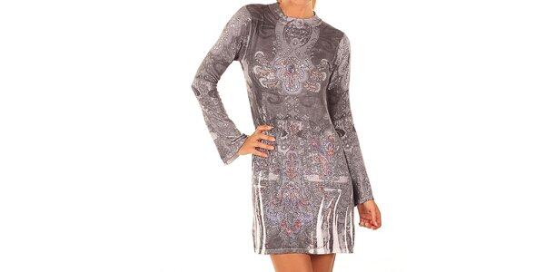 Dámské šedé šaty s barevnými kamínky Ada Gatti