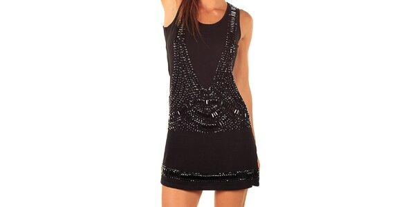 Dámské černé šaty s kamínkovými aplikacemi Ada Gatti