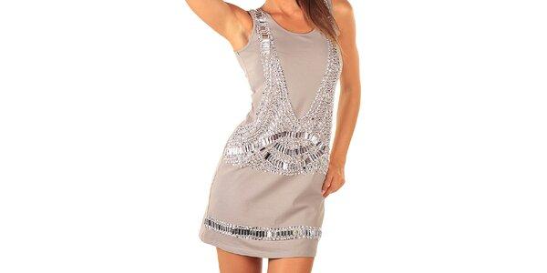 Dámské šedé šaty s kamínkovými aplikacemi Ada Gatti