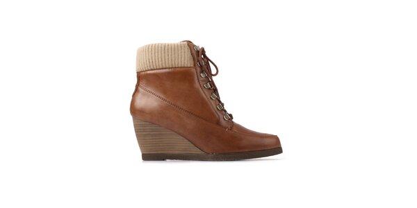 Dámské hnědé šněrovací boty Derhy