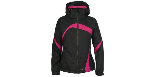 Dámská černá lyžařská bunda s růžovými detaily Trespass