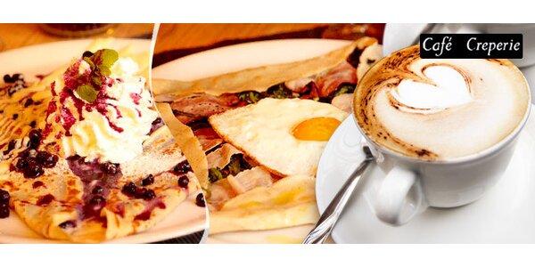 2 francouzské palačinky a 2 kávy v Café Creperie