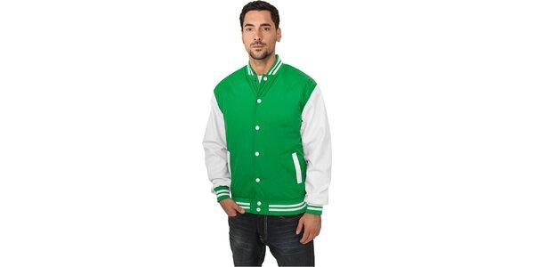 Pánská lehká zelená bunda Urban Classics s bílými rukávy