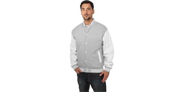 Pánská lehká šedá bunda Urban Classics s bílými rukávy