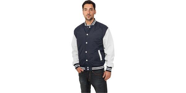 Pánská lehká modrá bunda Urban Classics s bílými rukávy