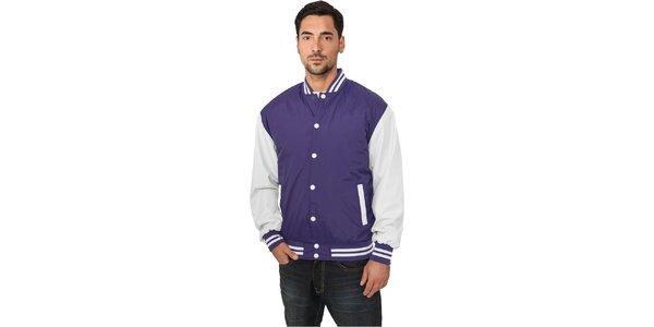 Pánská lehká fialová bunda Urban Classics s bílými rukávy
