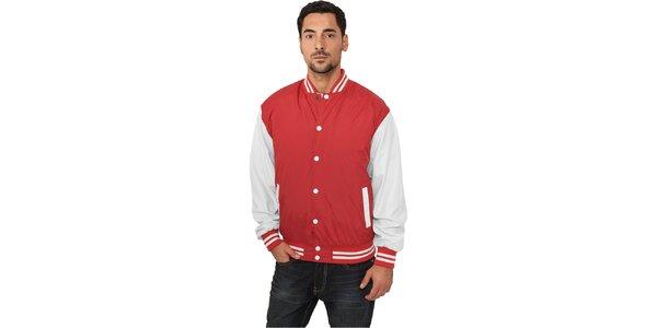 Pánská lehká červená bunda Urban Classics s bílými rukávy