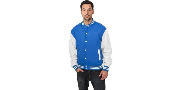 Pánská lehká nebesky modrá bunda Urban Classics s bílými rukávy
