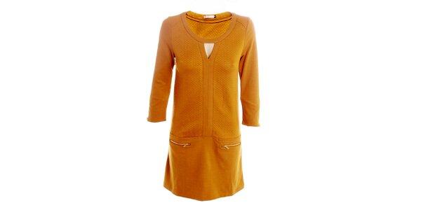 8dfb64b9d41 Dámské okrové šaty s kapsičkami 2two