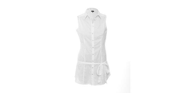 Bílá propínací košile s látkovým páskem