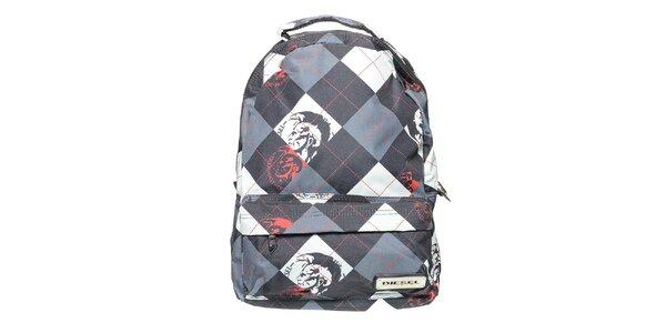Šedo-černý kostkovaný batoh Diesel