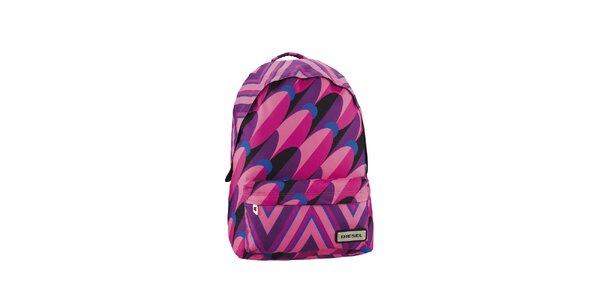 Růžovo-fialový pestrý batoh Diesel