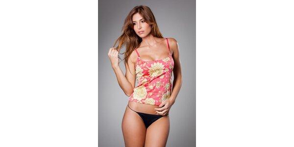 Dámská růžová košilka Roberto Cavalli se zlatým potiskem