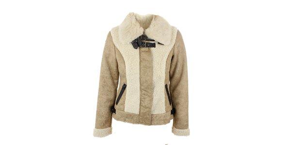 Dámská béžová bunda s kožešinou na límci Company&Co