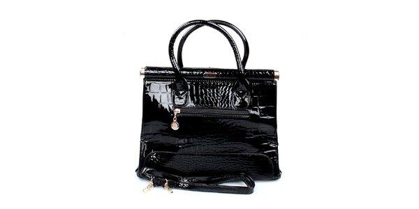 Dámská lesklá černá kabelka London Fashion