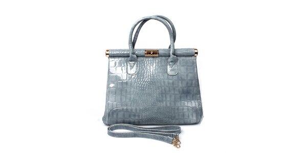 Dámská lesklá šedá kabelka London Fashion