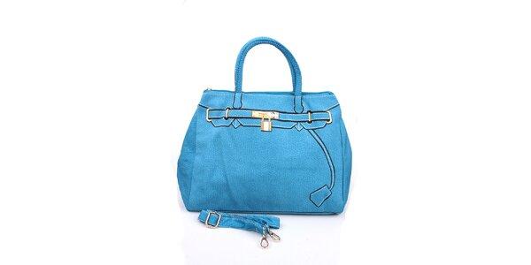 Dámská modrá kabelka s potiskem zlatého zámečku London Fashion