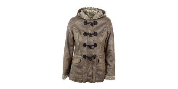 Dámský šedo-béžový kabátek s kapucou Company&Co