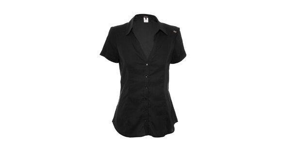 Lehká černá košile s krátkým rukávem