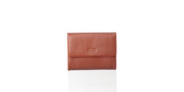 Dámská hnědá kožená peněženka Gianfranco Ferré s oranžovým lemem