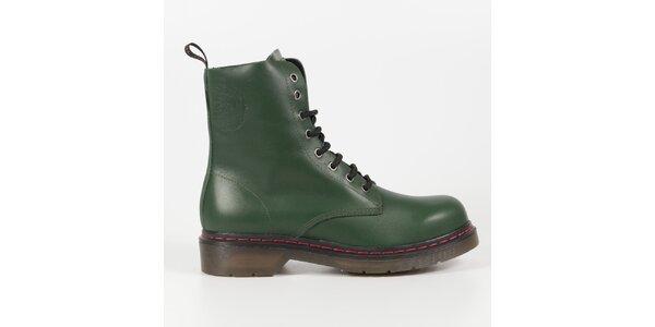 Dámské lahvově zelené kožené punkové boty Diesel