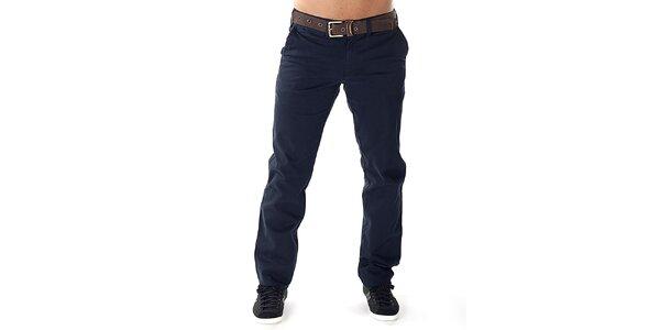 Pánské tmavě modré kalhoty s hnědým páskem Bendorff