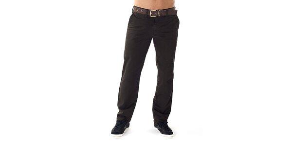 Pánské tmavě hnědé kalhoty s páskem Bendorff