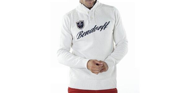 Pánský bílý svetr s nášivkou Bendorff