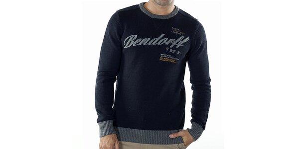 Pánský tmavě modrý svetr s kontrastními lemy Bendorff
