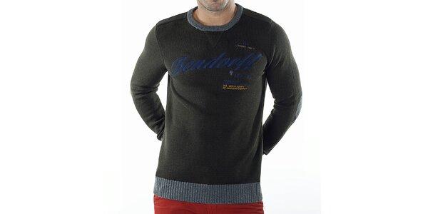 Pánský tmavě zelený svetr s kontrastními lemy Bendorff
