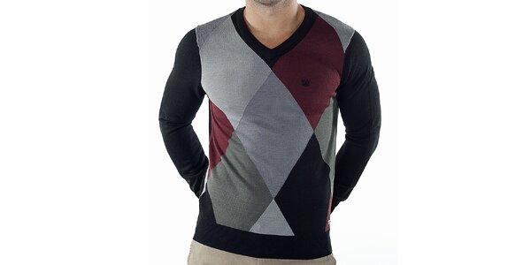 Pánský kostkovaný svetr s černými rukávy Bendorff
