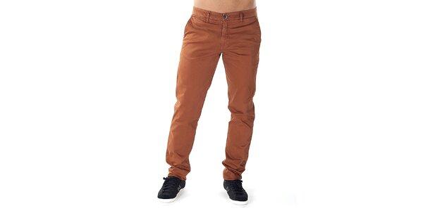 Pánské cihlově oranžové chino kalhoty Bendorff