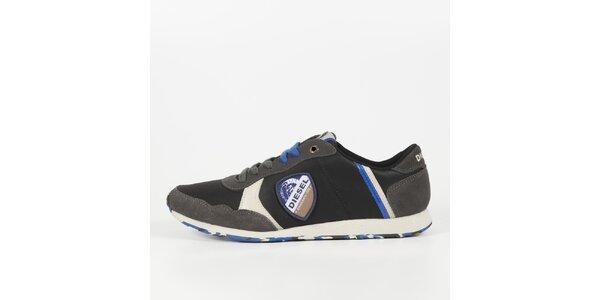 Pánské černé tenisky s modrými detaily Diesel