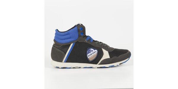 Pánské černé kotníkové tenisky s modrými detaily Diesel