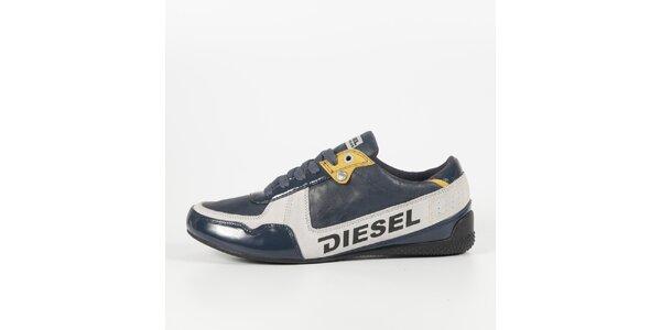 Pánské šedo-modré tenisky s lakovaným detailem Diesel