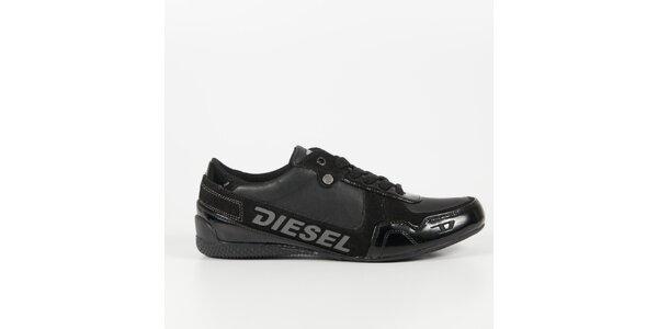 Pánské černé tenisky s lakovaným detailem Diesel