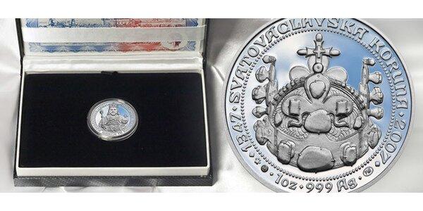 Medailon z ryzího stříbra s podobiznou Karla IV.