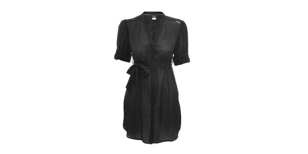 Lehké černé propínací šaty s páskem