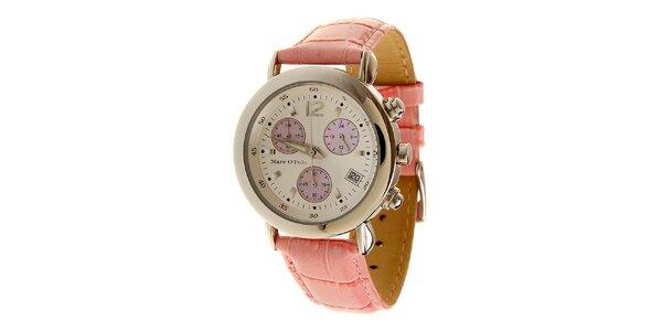 Dámské růžové hodinky Marc O´Polo s koženým řemínkem