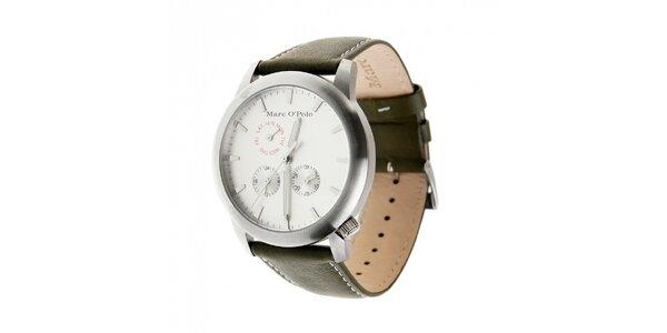 Marc O´Polo hodinky s tmavě zeleným koženým řemínkem a stříbrným ciferníkem