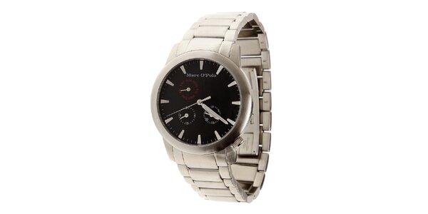 Pánské ocelové hodinky Marc O´Polo s černým ciferníkem